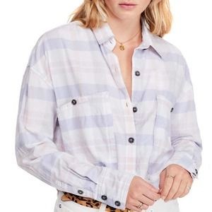 FREE PEOPLE NWT Pastel Pink Purple Button Blouse